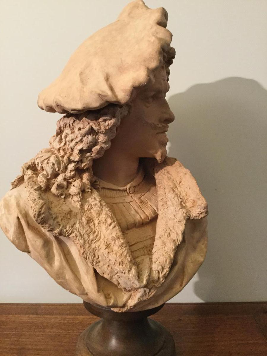 Buste En Terre Cuite De Rembrandt par Carrier-Belleuse H:55