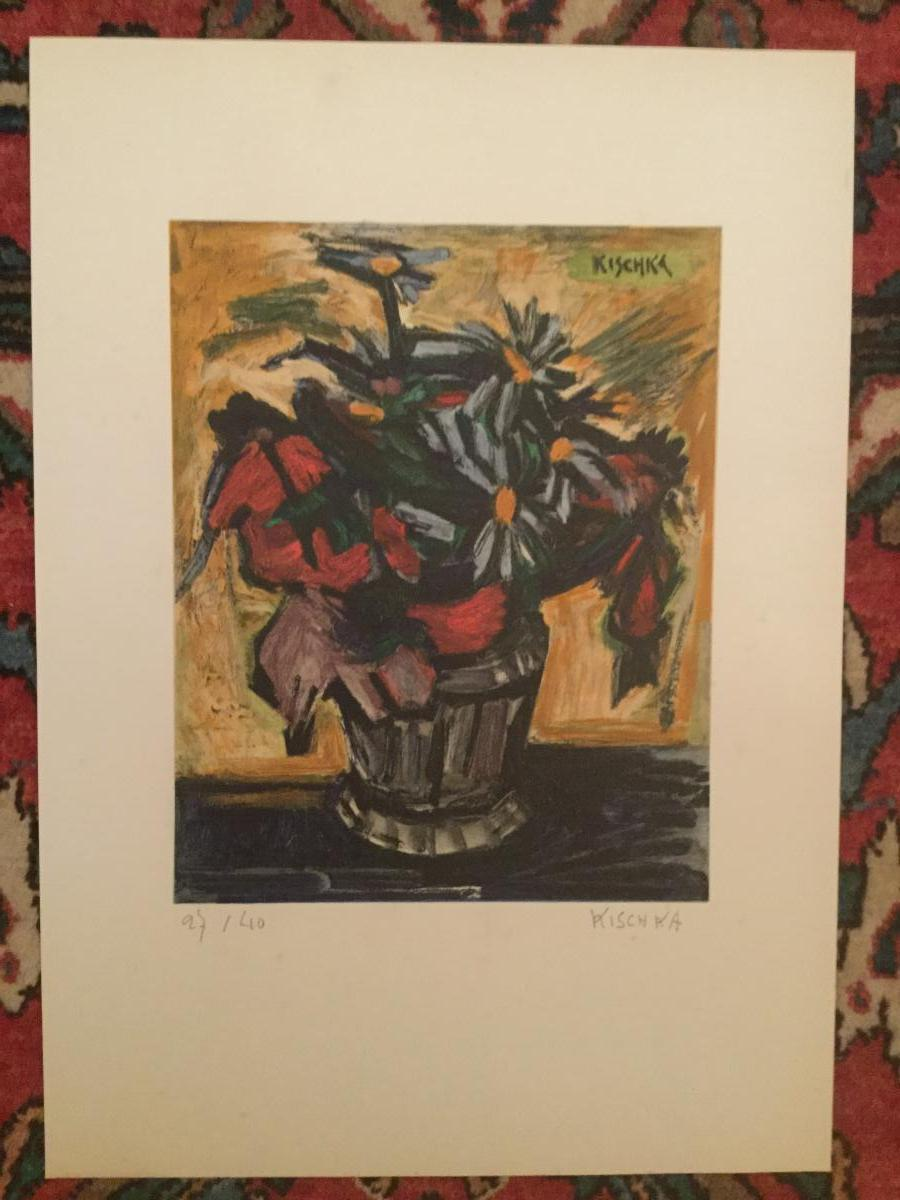 Lithographie Signé Kischka Bouquet