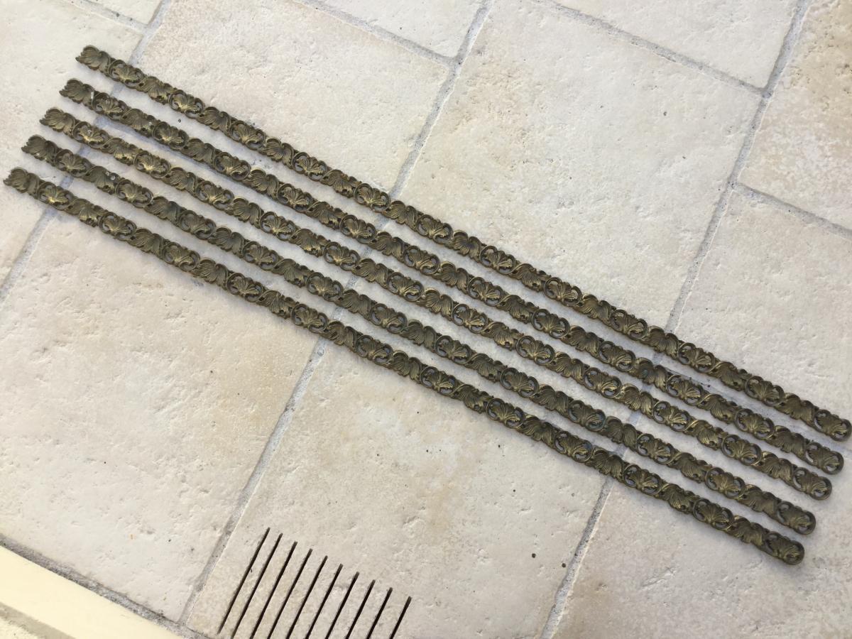 5 Frises De Laiton Décor De Feuilles Longueur 125x5=625 Cm