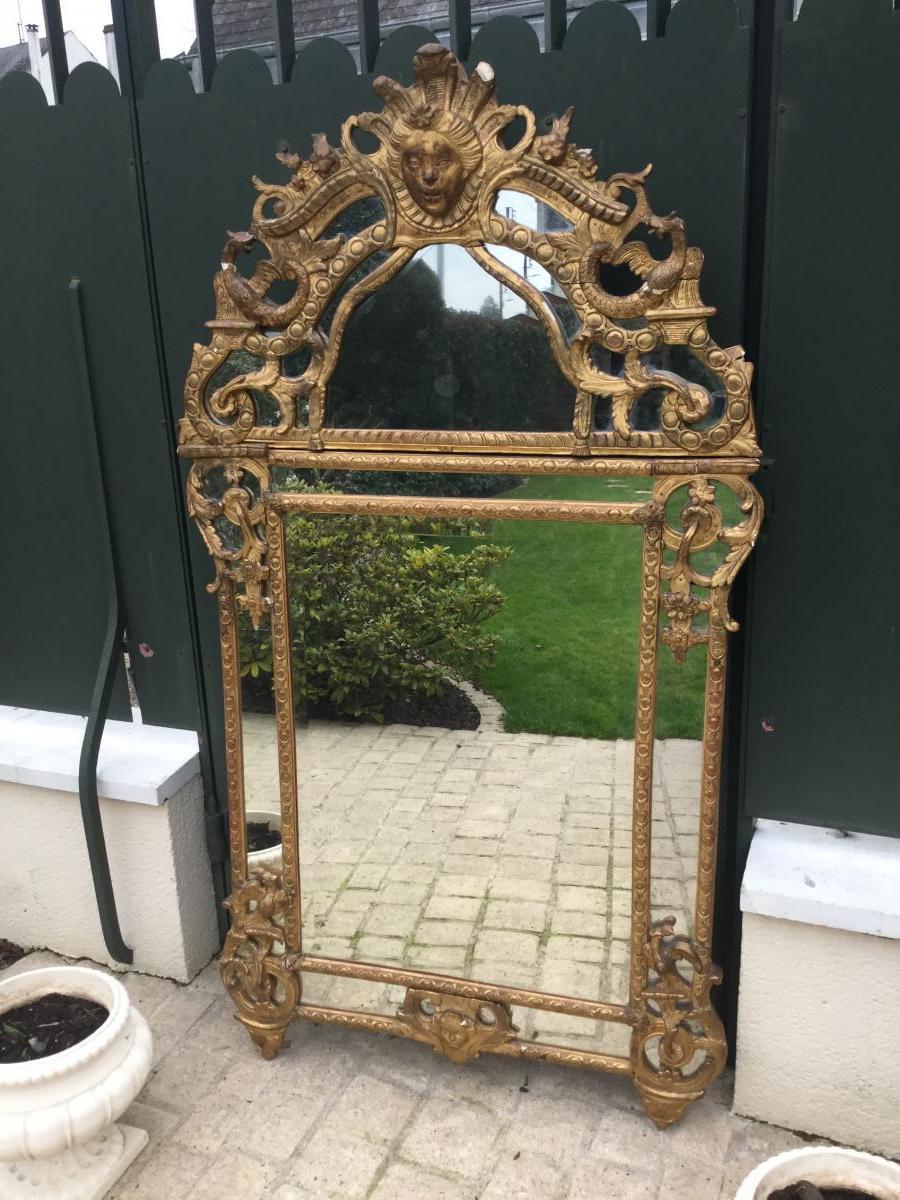 Grand Miroir à Parcloses époque Régence Hauteur 170 Cm Largeur 93,5 Cm