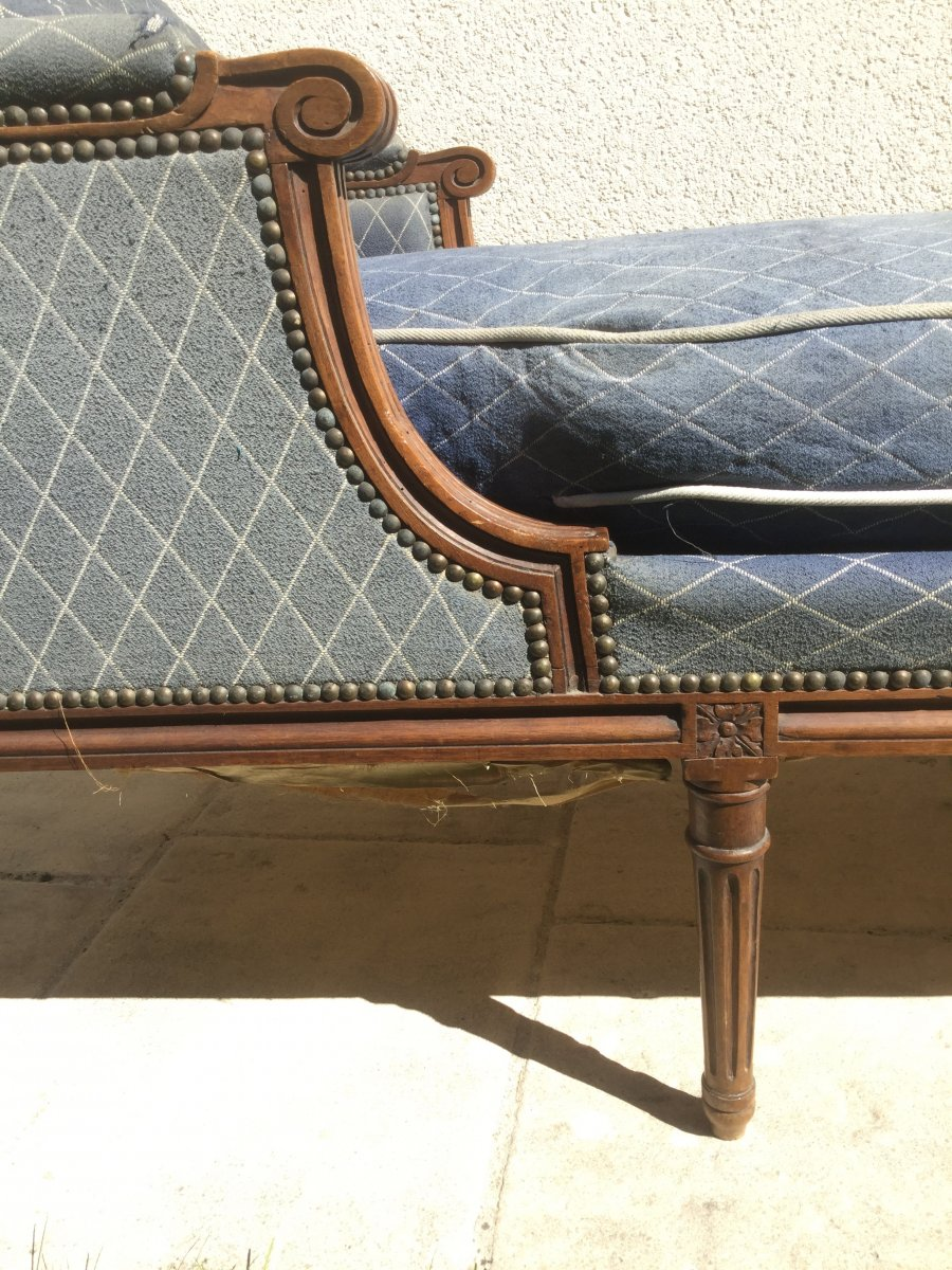 Chaise Longue Rest Bed Louis XVI In Walnut Late Eighteenth Time