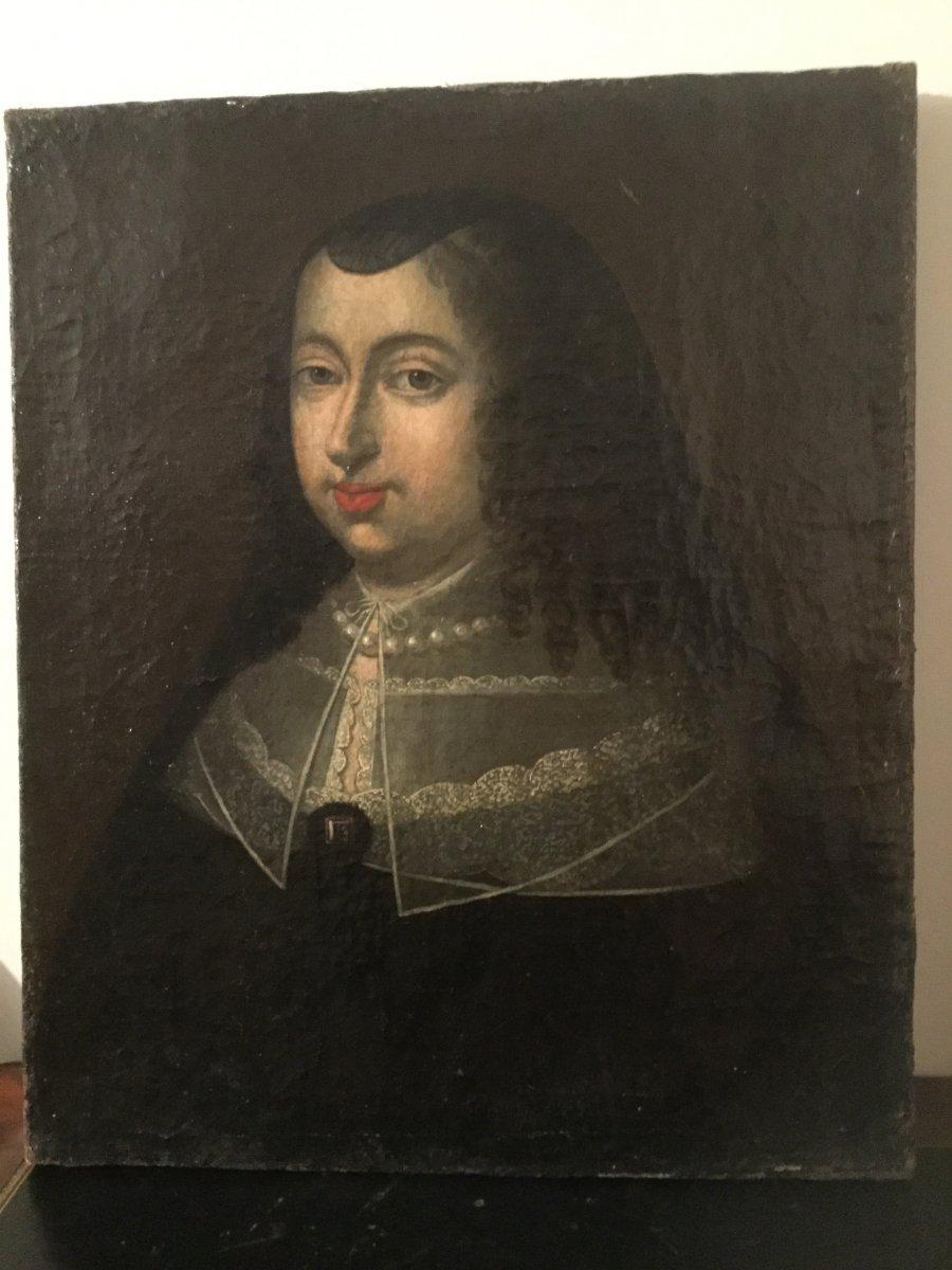 Portrait De Femme De Qualité Au Collier De Perles époque XVIIÉme