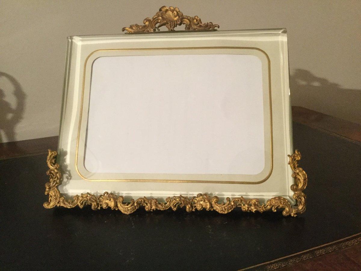 Large Frame Gilded Bronze Easel Beveled Glass Louis XV Style Napoleon III
