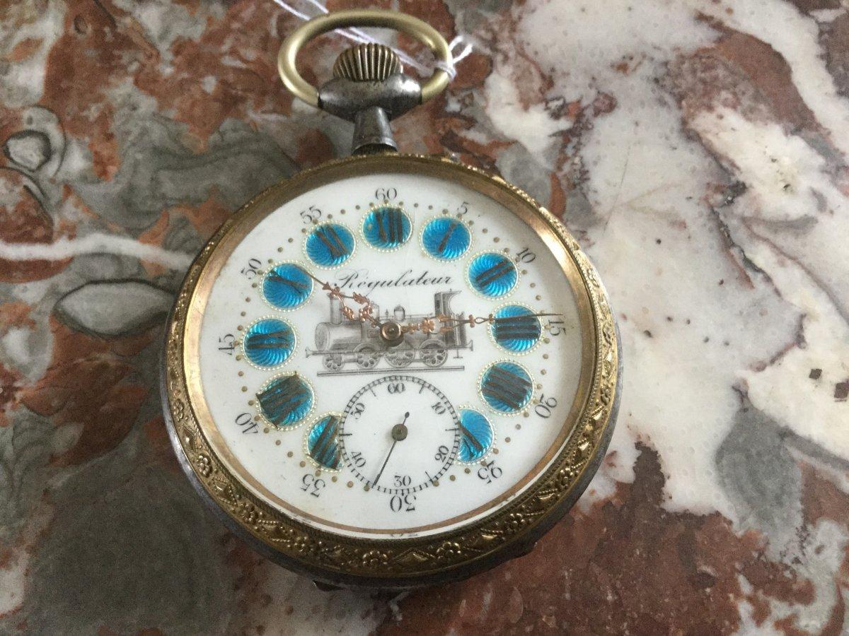 Regulator Watch Decor Of A Locomotive Early 20th Century