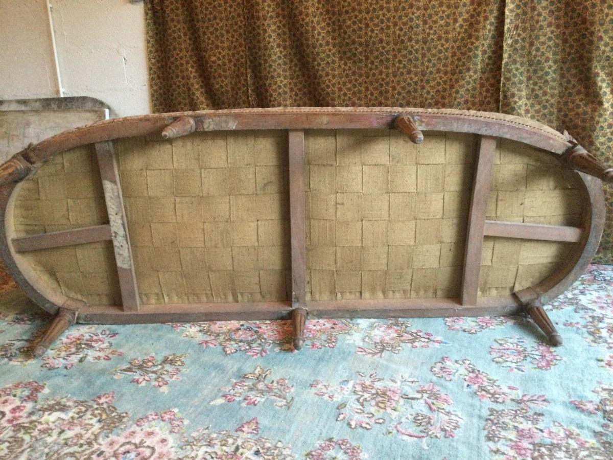 Basket Sofa With Cushion Stamped J.jb.demay Louis XVI Period-photo-1