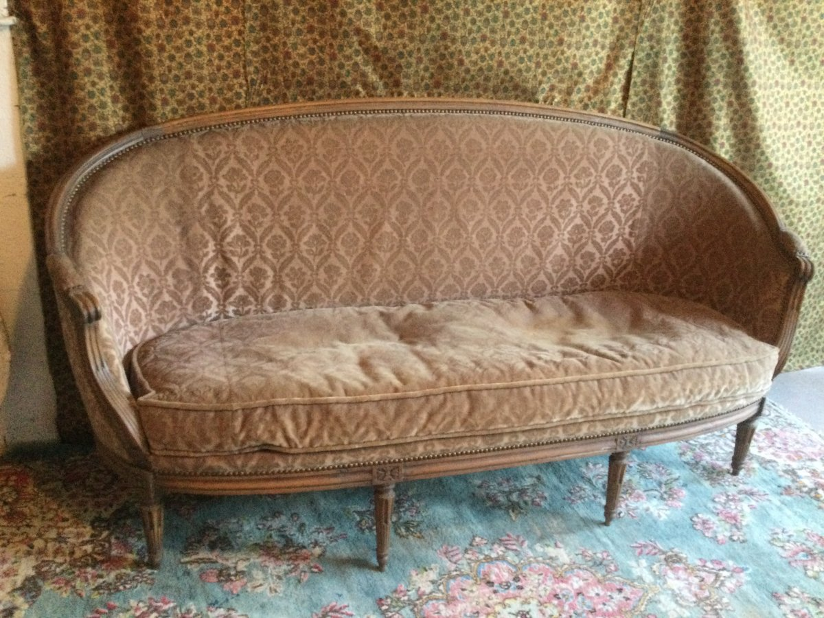 Basket Sofa With Cushion Stamped J.jb.demay Louis XVI Period