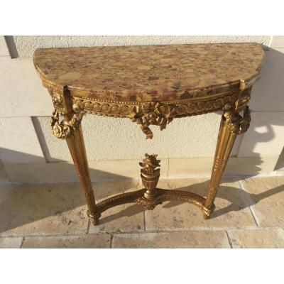 Console demi lune en bois doré époque Louis XVI