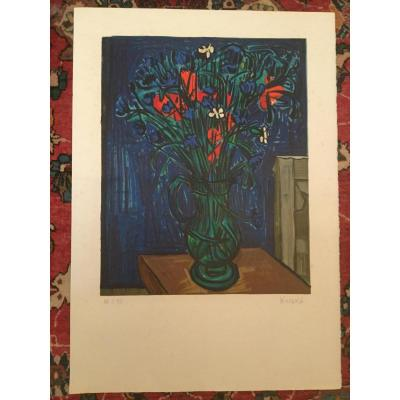 Lithograph Signed Hischka Grand Bouqet