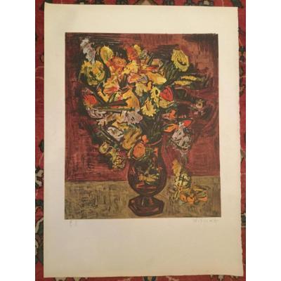 Lithographie Signé Kischka Grand Bouquet