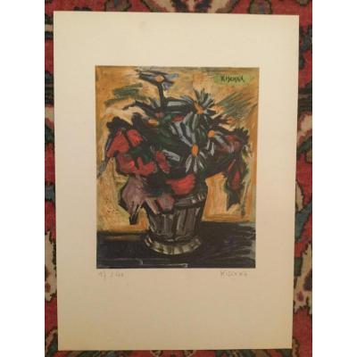 Lithograph Signed Kischka Bouquet