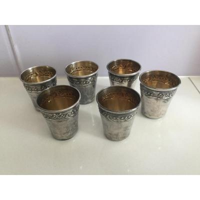 6 Gobelets à Liqueur Argent Minerve