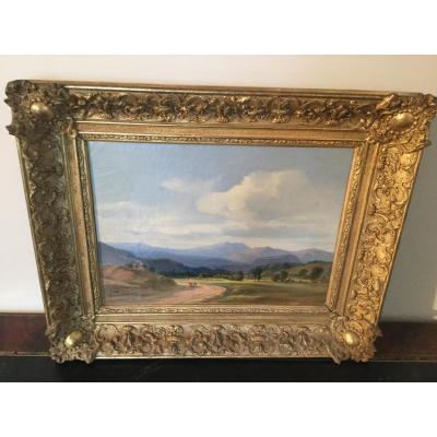 Hst Signé Nousveaux 1811/1867 Paysage De Montagne Daté 1847