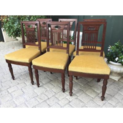 Six chaises en acajou modèle attribué à Jacob