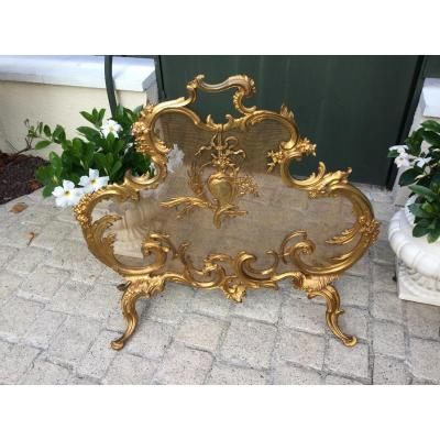 Firewall Screen Sparkles Fireplace Screen Gilt Bronze Louis XV Style