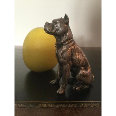 Chien Bulldog En Bronze Argenté Hauteur 8,5 Cm