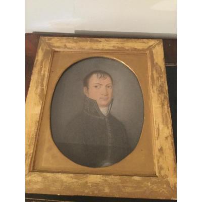 Pastel Portrait D'un Préfet 1er Empire 1804/1812