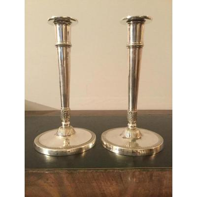 Pair Of Candlestick Directoire Period Silver Metal 8gr