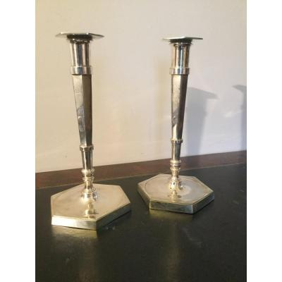 Pair Of Candlesticks Low Silver Bronze And Hexagonal Barrel Directoire Period