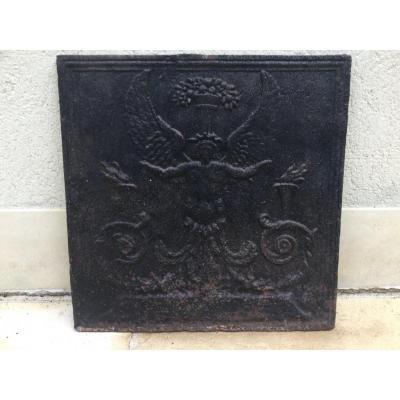 Plate Cast Iron Fireplace XIXth Height 54.5 Cm Width 54.5 Cm