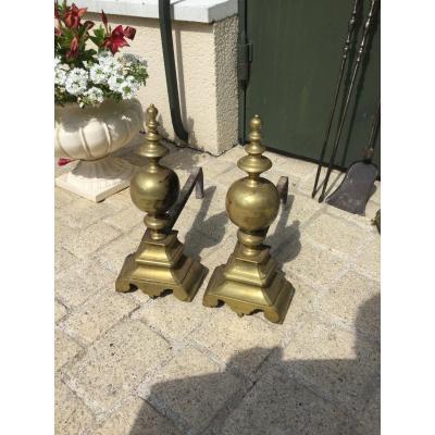 Paire De Chenets En Bronze De Style Louis XIII