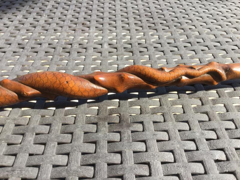 Cane Folk Art Wood Spiny Decor Of A Serpent Coiled Around The Barrel Length 86 Cm-photo-4