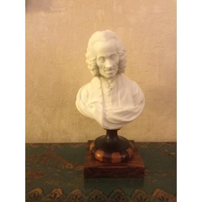 Buste De Voltaire En Biscuit Socle En Palissandre Et Bois Clair époque Début XIXÉme