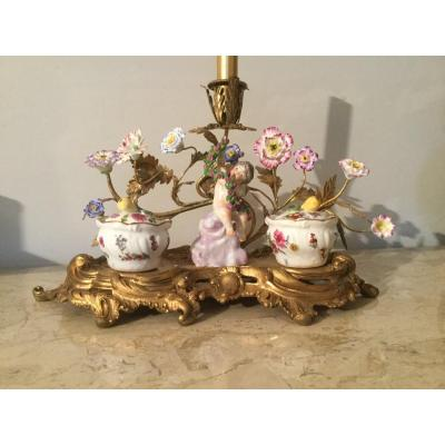 Inkwell Louis XV Style In Gilt Bronze And Saxony Porcelain
