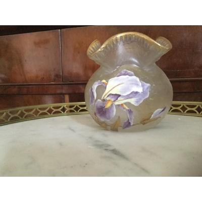 Vase Signed Mont Joye Decor Iris