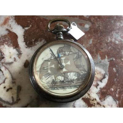 Regulator Watch In Steel Decor Of A Caravel Early Twentieth Time