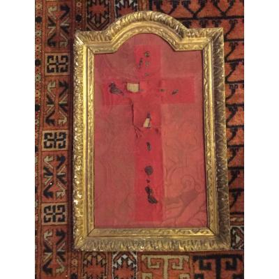 Cadre De Christ, crucifix En Bois Doré époque Régence