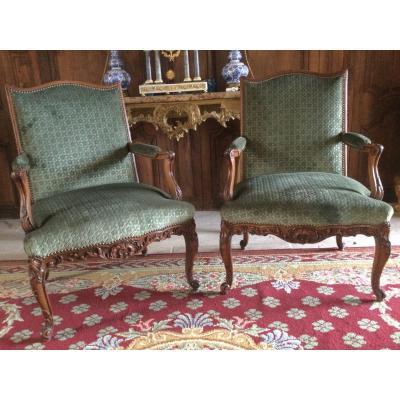 Pair Of Regency Style Armchairs XIXth