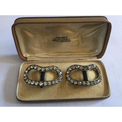 Boucles De Chaussures En Argent Sertie De Faux Diamants Maison Simonet 55 Av Georges V Paris