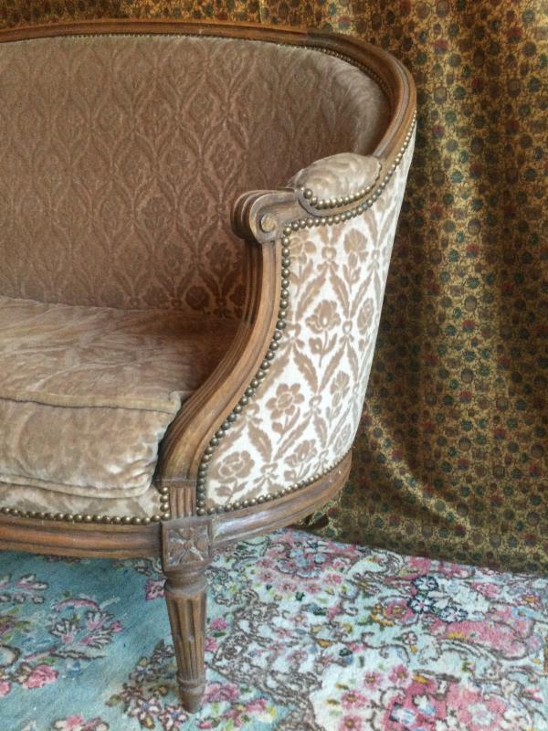 Basket Sofa With Cushion Stamped J.jb.demay Louis XVI Period-photo-2