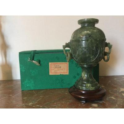 Vase Covered In Hard Stone On Wooden Base With Original Box