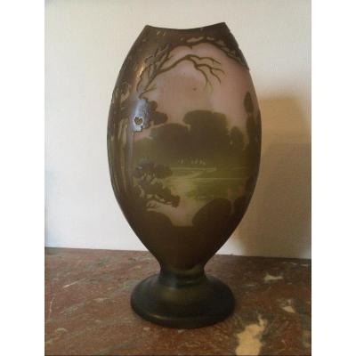 Grand Vase Gallé Paysage Lacustre