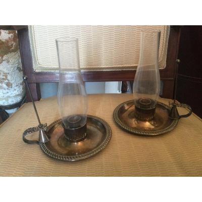 Pair Of Silver Metal Candle Holders From Harrods