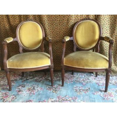 Pair Of Louisxvi Mahogany Armchairs Work From Port Bordeaux Or Nantes