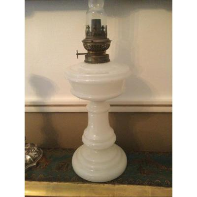 Oil Lamp In White Soapy Opaline Charles X Period