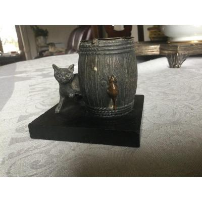 Pyrogenic Cat And Mouse In Patina And Marble Regulates