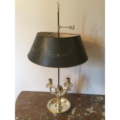 Lampe Bouillotte En Bronze Argenté à Trois Feux Abat-jour En Tôle Peint époque Louis XVI
