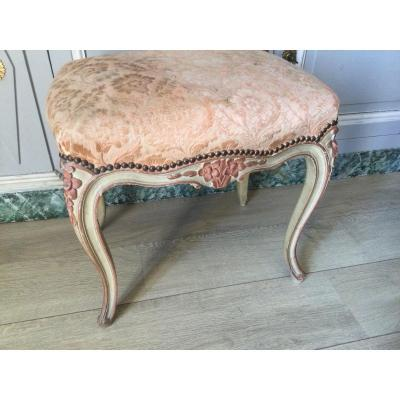 Louisxv Style Stool In Two Tone Lacquered Wood