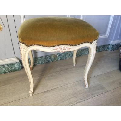 Louisxv Style Stool In Lacquered Wood