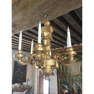 Large Chandelier In Golden Wood Louisxvi Style
