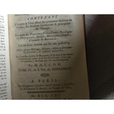 Dictionnaire Généalogique Sept Tomes éditons 1761