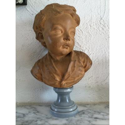 Buste En Terre Cuite De Louis-eustache De Saint-pierre Par Jean-baptiste Pigalle