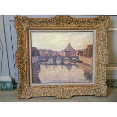 Oil On Paper Rome Saint Peter's Basilica And The Saint Angel Bridge