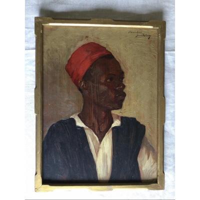 "Portrait Of African Man ""hamadou Jeanpalun"" Oil On Fir Panel"