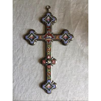Large Cross In Micro Glass Mosaic Italian Work Height 26.5 Cm