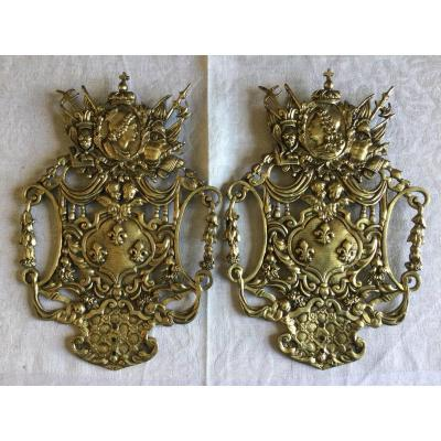 Pair Of Plates With French Weapons In Bronze Mid-19th Century
