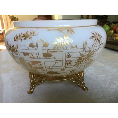 Beautiful Baccarat Cup In White Opaline Gold Decor Gilt Bronze Frame